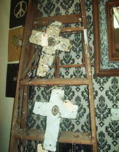 victorian ceiling tin crosses