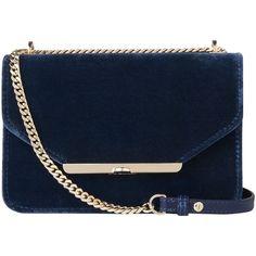 L.K. Bennett Karla Shoulder Bag (£225) ❤ liked on Polyvore featuring bags, handbags, shoulder bags, velvet purse, blue purse, man shoulder bag, velvet shoulder bag and velvet handbag