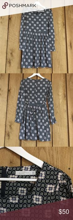 MINKPINK Print Dress Adorable navy and purple print - ties in the back - 100% polyester - perfect condition! MINKPINK Dresses Mini