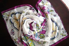 Floral handpainted Silk Scarf The Yellow Butterflies''.  by KZest, $135.00