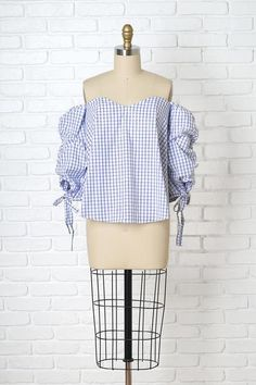 Mae Checked Off-the-Shoulder Blouse | #offtheshoulder #offtheshoulderblouse #rufflesleeves