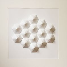 Paper Crystal Mosaic Relief Wall Art - Geometric Modernist Minimal Origami Sculpture White Abstract Symmetric Folding Tessellation Home Deco