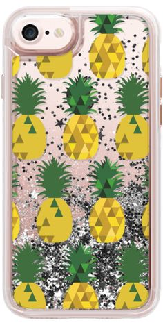 Casetify iPhone 7 Glitter Case - Transparent Pineapple Fruit Party by MYbyDesigns #Casetify