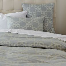 duvet combined with white Peacock Alley matelasse coverlet and king shams