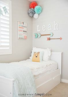 It was time to take down the lady bug decor and let Leah's 10 year old personality shine! Decorating this tween girl bedroom was a ton of fun!