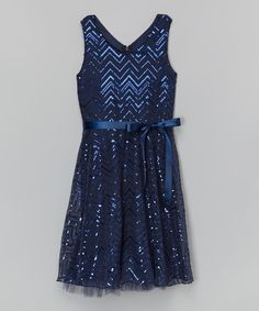 Look at this Navy Sequin Zigzag Dress on #zulily today!