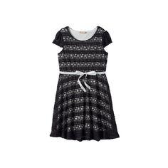 Girls 7-16 & Plus Size Lilt Ribbon Lace Skater Dress, Girl's, Size: 14 1/2, Grey (Charcoal)