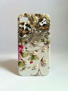 Bling Rhinestone Phone Case Jewel Bow iPhone 4/ 4S Retro Floral White Red. $34.00, via Etsy.