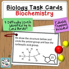 Biology Task Cards: Biochemistry. 60 cards, 4 difficulty levels, and an editable template included. Science and Math with Mrs. Lau