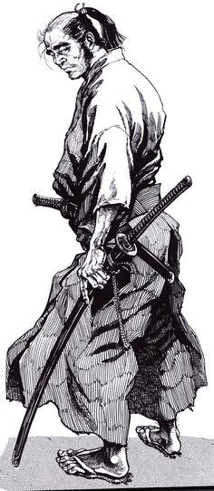 by Hiroshi Hirata Samurai Drawing, Samurai Artwork, Karate, Samourai Tattoo, Marshal Arts, Miyamoto Musashi, Japanese Warrior, Samurai Warrior, Chuck Norris