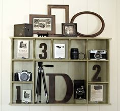 Cubby Shelf Trash to Treasure {Inspired by Pottery Barn} An old cubby shelf is transformed into a beautiful display area for a collection of vintage cameras. Cubbies, Cubby Shelves, Display Shelves, Display Wall, Antique Cameras, Vintage Cameras, Vintage Camera Decor, Vintage Decor, Regal Display