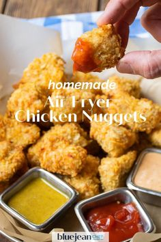 Air fryer chicken nuggets are a healthier way to enjoy crispy chicken bites. Coating them in crunchy potato chips makes breading them not only easy, but very tasty too! Use any flavor potato chips and come up with your very own nuggets that both kids and adults will love. So much better than store bought frozen nuggets. Crusted Chicken, Breaded Chicken, Crispy Chicken, Air Fryer Oven Recipes, Air Fryer Dinner Recipes, Chicken Bites, Chicken Meals, Delicious Recipes, Tasty