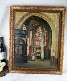 Belgian listed artist Alice Colin Painting oil canvas interior church signed