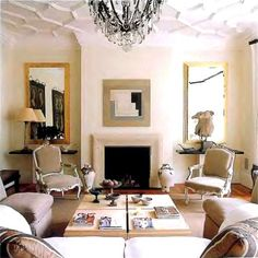 Textured ceiling and vintage chandelier, so pretty