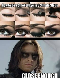 "This photo is shockingly similar to what I look like when I try to do a ""smoky eye"".  Except that Bucky Barnes somehow manages to still look good and I . . . don't.  :-)"
