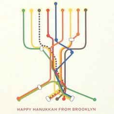 Cheryl Berkowitz is a Brooklynite graphic designer who creates these clever cards, transforming the NY subway into a menorah with its base leading to the founda