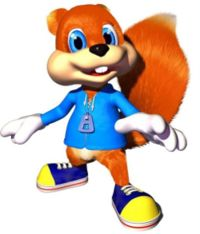 """His name is Conker T. Squirrel...so yes, that does imply that his last name is """"Squirrel"""" and his middle name is """"The"""", I suppose.  He may look cute, but he is actually a drunkard.    He stars in the cult Nintendo 64 game """"Conker's Bad Fur Day"""", a mature-rated platformer which spoofs a lot of movies and additionally acts as an antithesis to everything that most N64 platformers were."""