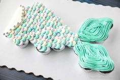 Mermaid Cupcake Cake, Mermaid Birthday Cakes, Birthday Cake Girls, Birthday Cupcakes, Cupcake Cakes, Birthday Parties, 7th Birthday, Birthday Stuff, Pull Apart Cupcake Cake