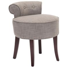 Your home will seem more inviting with these elegant grey vanity chairs by Rochelle. Luxurious and contemporary, you can sit back on the relaxing viscose blend fabric upholstery for hours. The beautiful brown wooden frame goes perfectly with your decor.