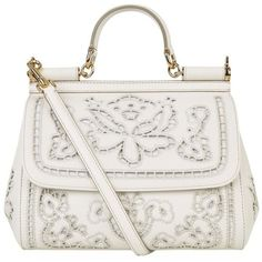 Dolce & Gabbana Medium Cut Out Sicily Tote ($3,305) ❤ liked on Polyvore featuring bags, handbags, tote bags, borse, white, embellished handbags, white tote bag, white purse, floral tote and structured tote bag