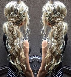 #4: Cascading Braided Pony Go medieval on your hair and pair a braided side pony with luscious, lovely curls. Secure the braid just behind your ear and only tie
