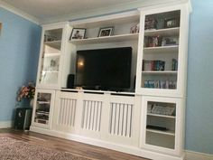 Satin white rad cover unit with built in modern style radiator cover, glass doors, push catchers Custom Radiator, Radiator Cover, Built In Shelves Living Room, Living Room Tv, Tv Built In, Built Ins, White Tv Unit, Tv Wall Decor, Wall Mounted Tv