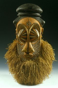 Africa | Mask from the southern Kuba people of DR Congo | Wood, natural fiber and pigment | Late 19th to early 20th century
