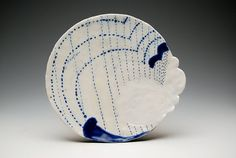 Plate by Emily Schroeder with lovely cobalt decoration.