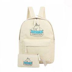 Backpacks canvas fashion cute 2pcs/set laptop School