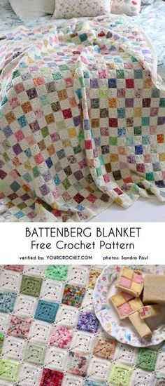 Battenberg Blanket Free Crochet Pattern This Afghan is beautiful ! I'm still a beginner sowe'll see. Thanks for such a wonderful site. The post Battenberg Blanket Free Crochet Pattern appeared first on Crochet ideas. Point Granny Au Crochet, Granny Square Crochet Pattern, Crochet Afghans, Afghan Crochet Patterns, Crochet Squares, Baby Blanket Crochet, Crochet Stitches, Crochet Blankets, Quilting Patterns