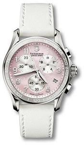 Swiss Army Women's Stainless Steel Classic Pink Mother Of Pearl Dial Chronograph Leather Strap see how much we can save you