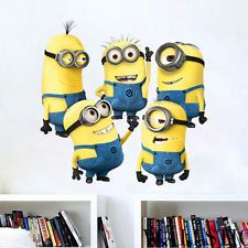 DIY 5 Neutral Minions Despicable Me Removable Decal Wall Sticker...