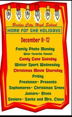 "Winter Spirit Week ""Home for the Holidays"" Holiday Games, Holiday Ideas, Christmas Movies, Christmas Fun, December Calendar, Student Council, Christmas Fashion, School Spirit, Freshman"