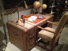 Trunk refurbished as a desk