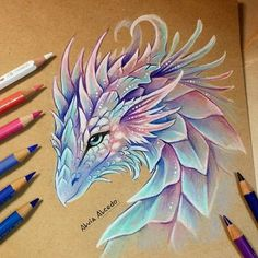 colorful animal art - Hunting Anime Is A Great Place To Get Your Anime Products and Cosplay With Free Worldwide Shipping Colorful Drawings, Fantasy Drawings, Cute Dragon Drawing, Animal Art, Dragon Artwork, Art Drawings Sketches, Creature Art, Cute Art, Color Pencil Art