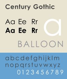 Century Gothic is a geometric sans-serif typeface released by Monotype Imaging in 1991. It is strongly influenced by the font Futura, though with a higher x-height, and its design history also derives from two separate typefaces intended as Futura competitors. It is a digital typeface that has never been made into actual foundry type.