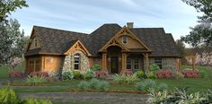 This craftsman house plan boasts an open floor plan layout in under 1500 sq ft. The Merveille Vivante tiny house plan dazzles with its charming bungalow exterior elevation. Craftsman Style House Plans, Ranch House Plans, Cottage House Plans, Best House Plans, Cottage Homes, Craftsman Ranch, Craftsman Exterior, Craftsman Cottage, The Plan