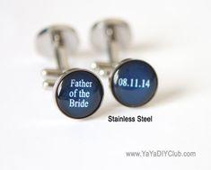 Father of the bride cufflink Navy Blue Wedding Gift by yayadiyclub, $39.00