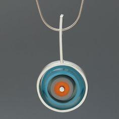 Art Glass Necklace Sterling Silver Framed Orange and Turquoise Drop Necklace, Glass Necklace, Glass Jewelry, Jewelry Booth, Orange And Turquoise, Clean Design, Handmade Art, Coupon Codes, Glass Art