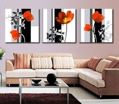 Modern Art High Quality 3 Panel Flower Painting Contemporary Floral Canvas Painting Paint By Number For Living Room Wall Picture. Subcategory: Home Decor. Purple Wall Decor, Wall Decor Set, Purple Walls, Living Room Red, Living Room Paint, Living Room Decor, Living Room Canvas Art, Room Art, Poppy Flower Painting