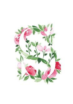 Floral Letters, Monogram Letters, S Alphabet, Flower Alphabet, Watercolor Flowers, Watercolor Art, Name Decorations, Love Heart Images, Madhubani Art