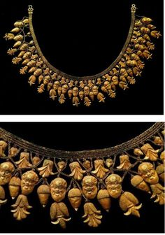Necklace from Ruvo, Italy 480 BCE. It was found in Apulia, a Greek colony, but it was produced in Etruria.
