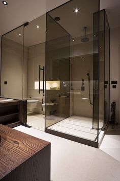Colored glass panels | Contemporary residential interior design bathroom minimalist masculine I M Lab-The Country Home