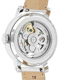 Fossil Women's ME3069 Original Boyfriend Automatic Stainless Steel Skeleton Watch With White Leather Band  Sand leather strap Round stainless steel case Silver-tone skeleton dial with stick indices, three hands, luminous accents and logo Automatic movement Water resistant to 50 meters   Silver-tone watch with self-winding functionality featuring skeleton dial with logo and white-filled sword hands Silver-tone watch with self-winding functionality featuring skeleton dial with logo and..