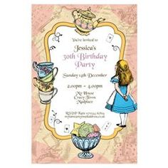 Personalise Alice Tea Party Pink Invitations Postcard Size