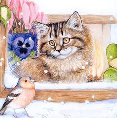 Winter cat painting. Cook Debbie