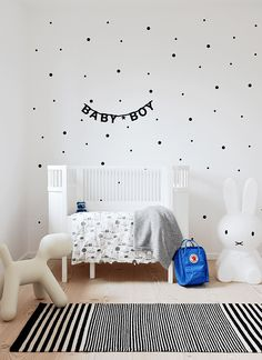 baby boys nursery, white wall with polka dot wall stickers