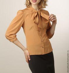"""Купить Блузка из шелка """"Модница"""" - оранжевый, однотонный, блузка, офис, блуза, горчичный цвет, горчица"""