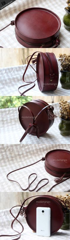 Handmade Leather bag round for women leather shoulder bag crossbody