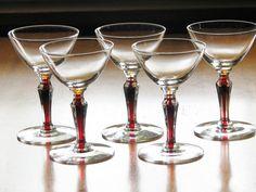 Morgantown Glass FISCHER Clear Cocktail Goblets w/ Red Filament Stem - Set of 5 #MorgantownGlass